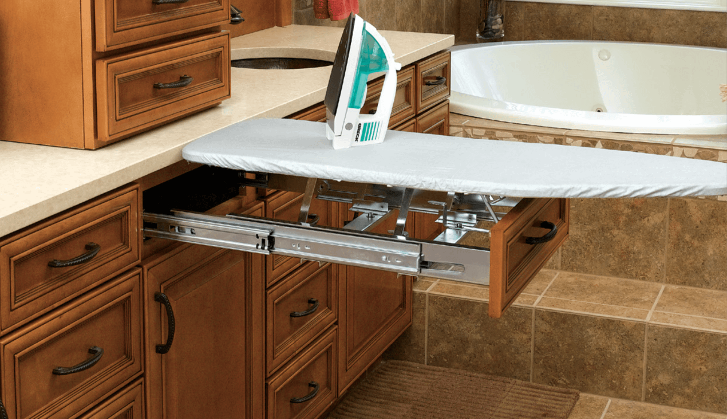 bathroom storage - ironing board