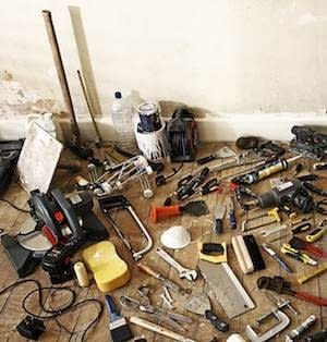 remodeling company tools on floor