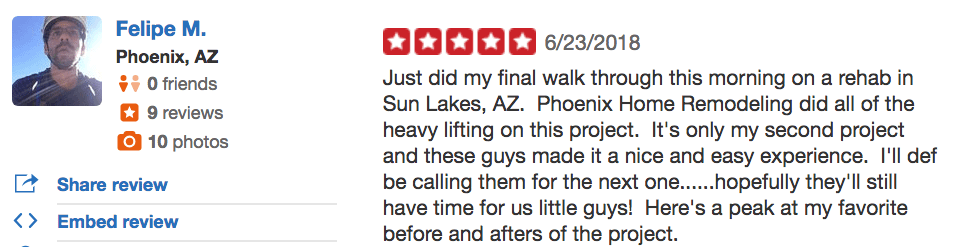 Felipe yelp review of PHR