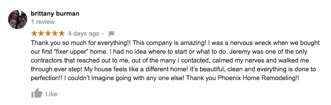 chandler kitchen remodel google review