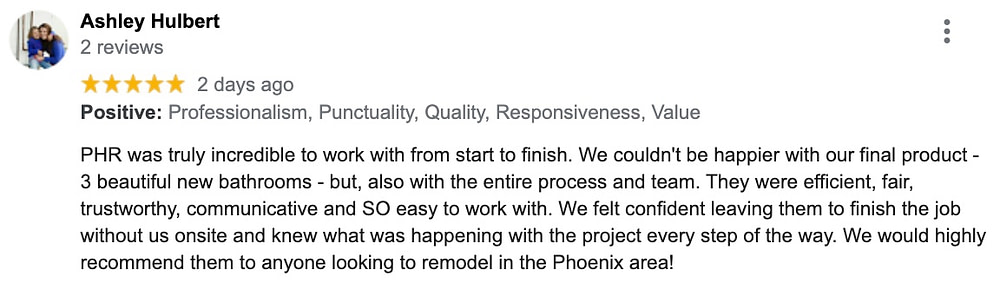 Ashley review of 3 bathroom remodels