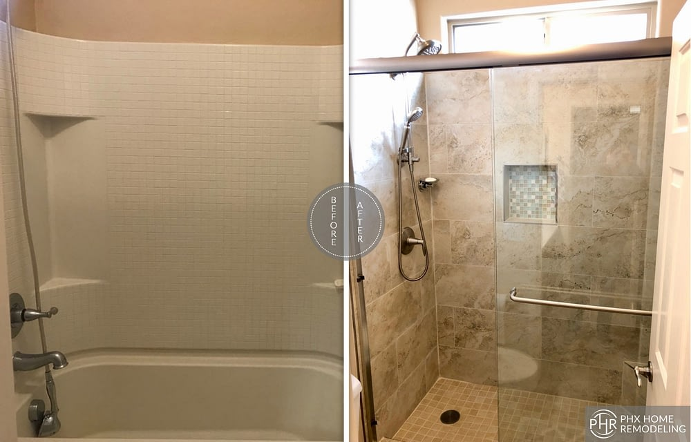 small shower remodel in chandler