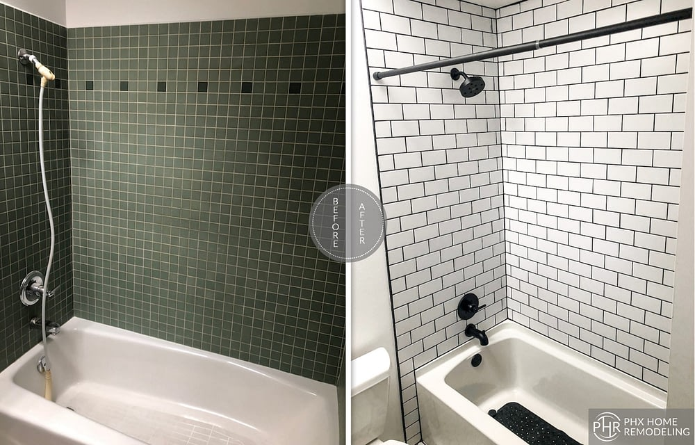 black and white shower remodel in tempe