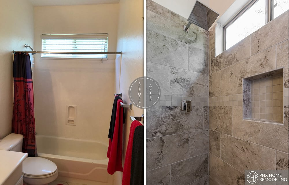 chandler guest shower remodel az style