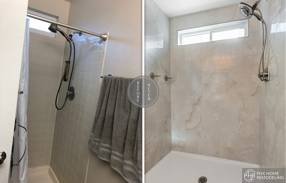 guest bathroom shower remodel in tempe