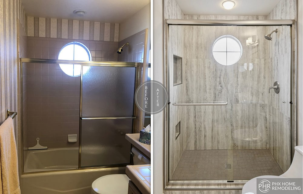 guest shower remodel in sun lakes