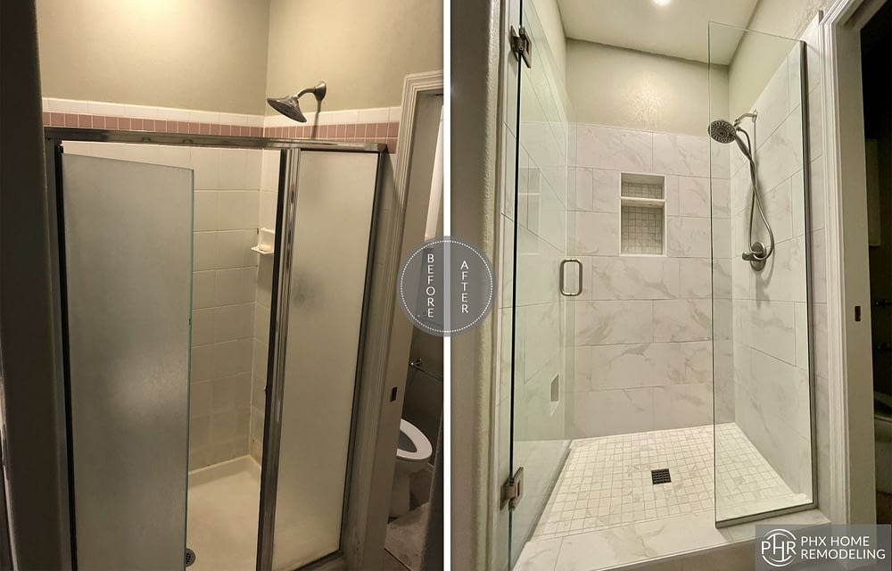 white bathroom shower remodeling in phoenix