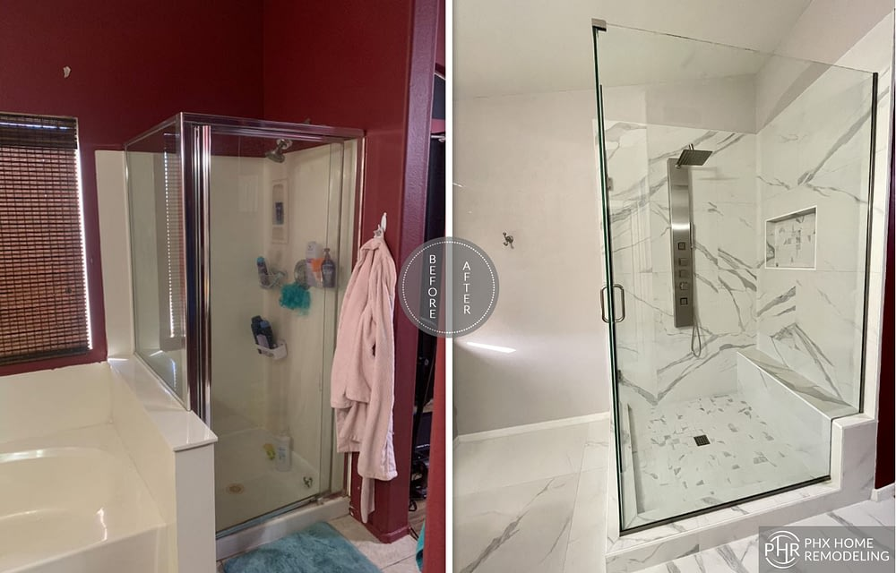 white bathroom shower renovation arizona