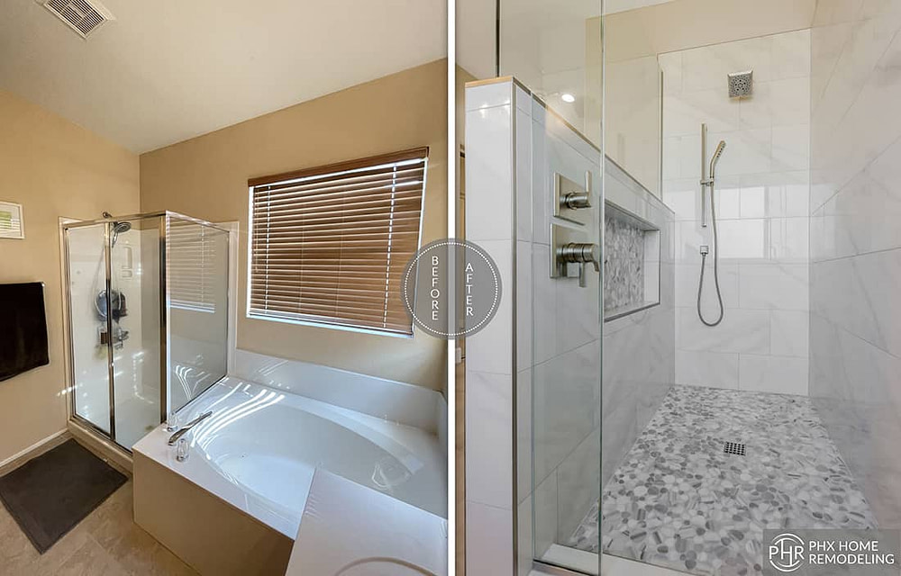 chandler arizona master bathroom shower remodel with wall niche