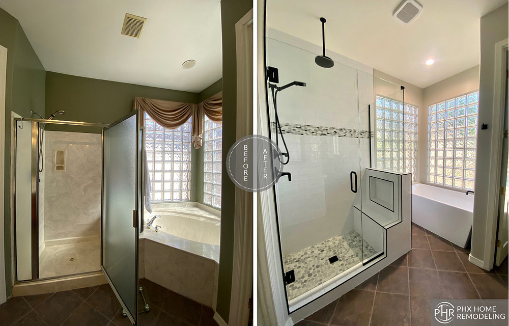 master bathroom shower and bathtub remodel in phoenix