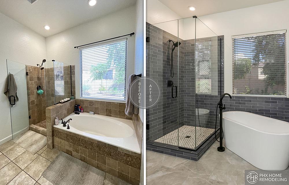 master bathroom shower remodel with wall niche chandler arizona