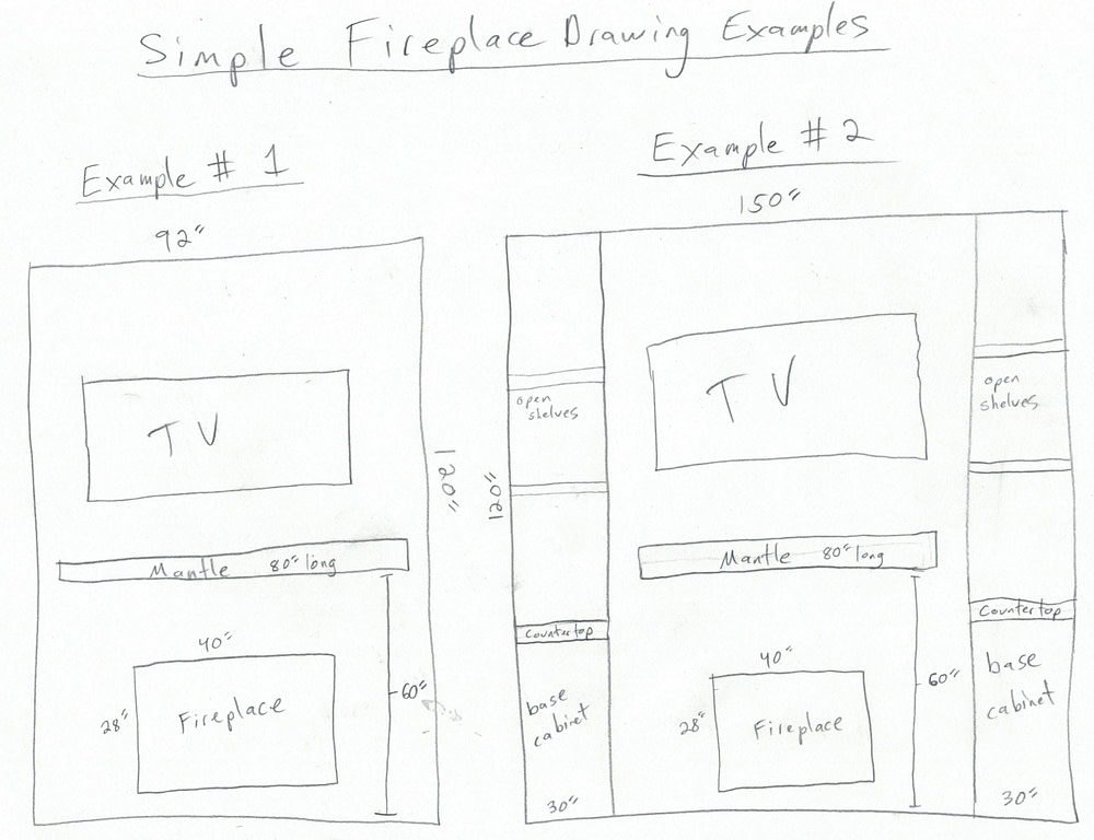 Simple Fireplace remodel drawing examples