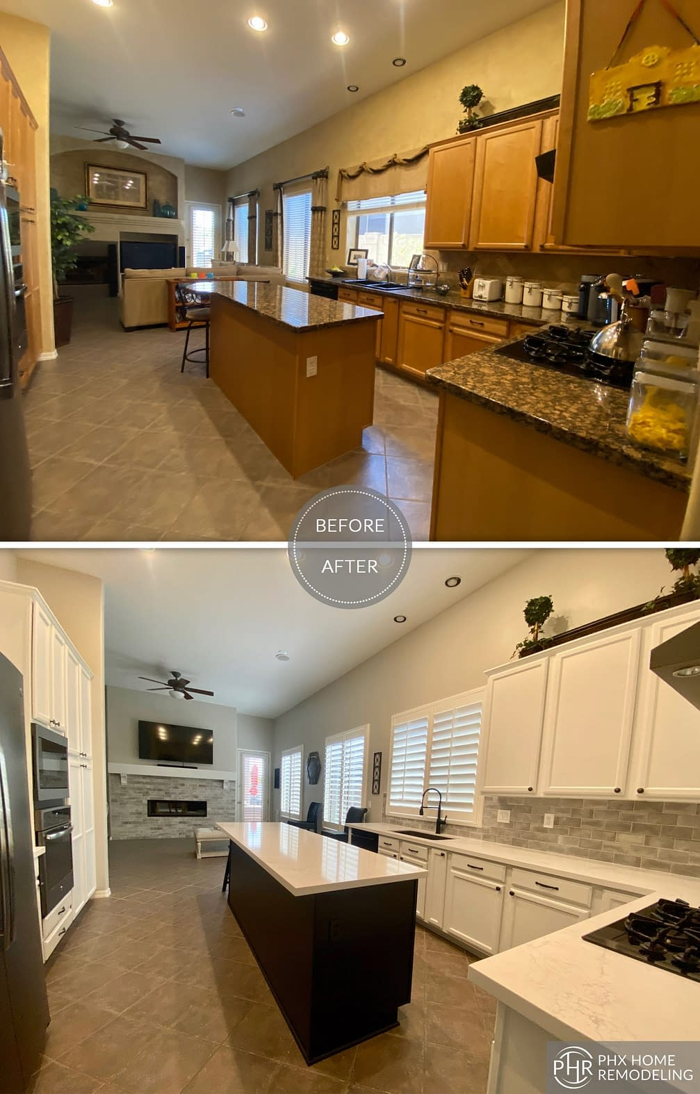 kitchen with fireplace remodel in phoenix
