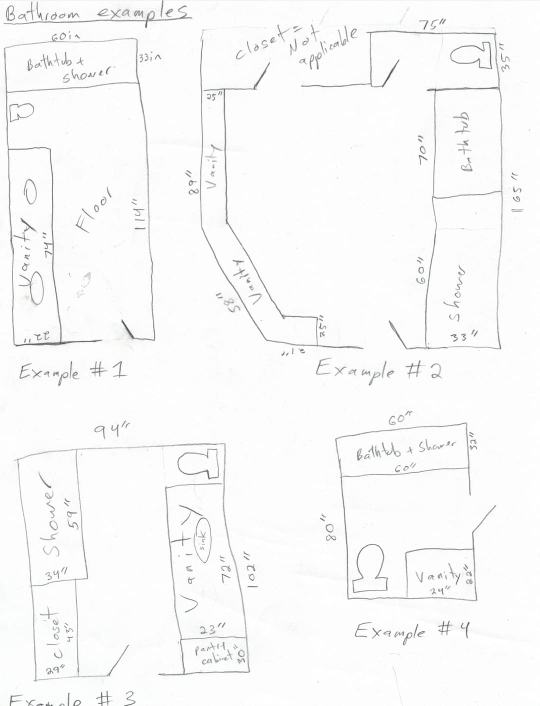 Bathroom remodel drawing examples