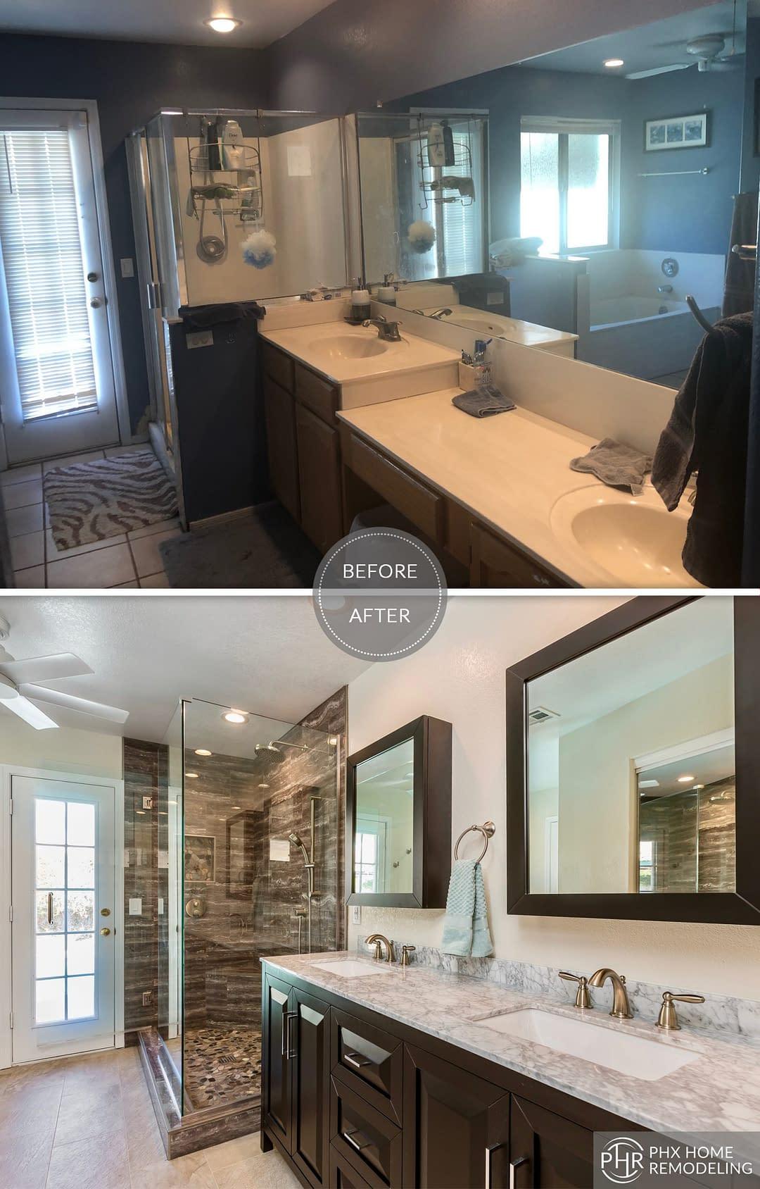 bathroom vanity shower remodel in chandler