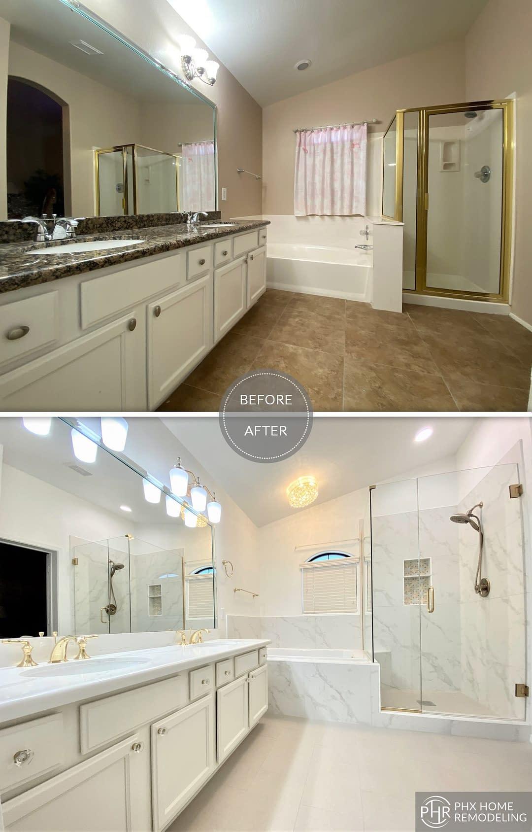 elegant white bathroom remodel in chandler