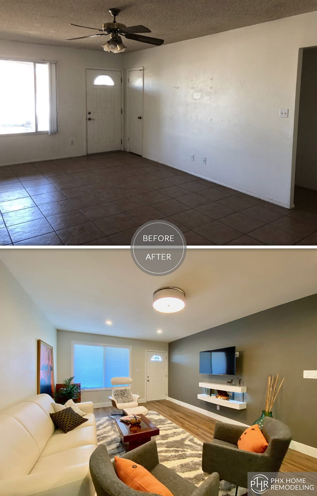 living room accent wall remodel in tempe