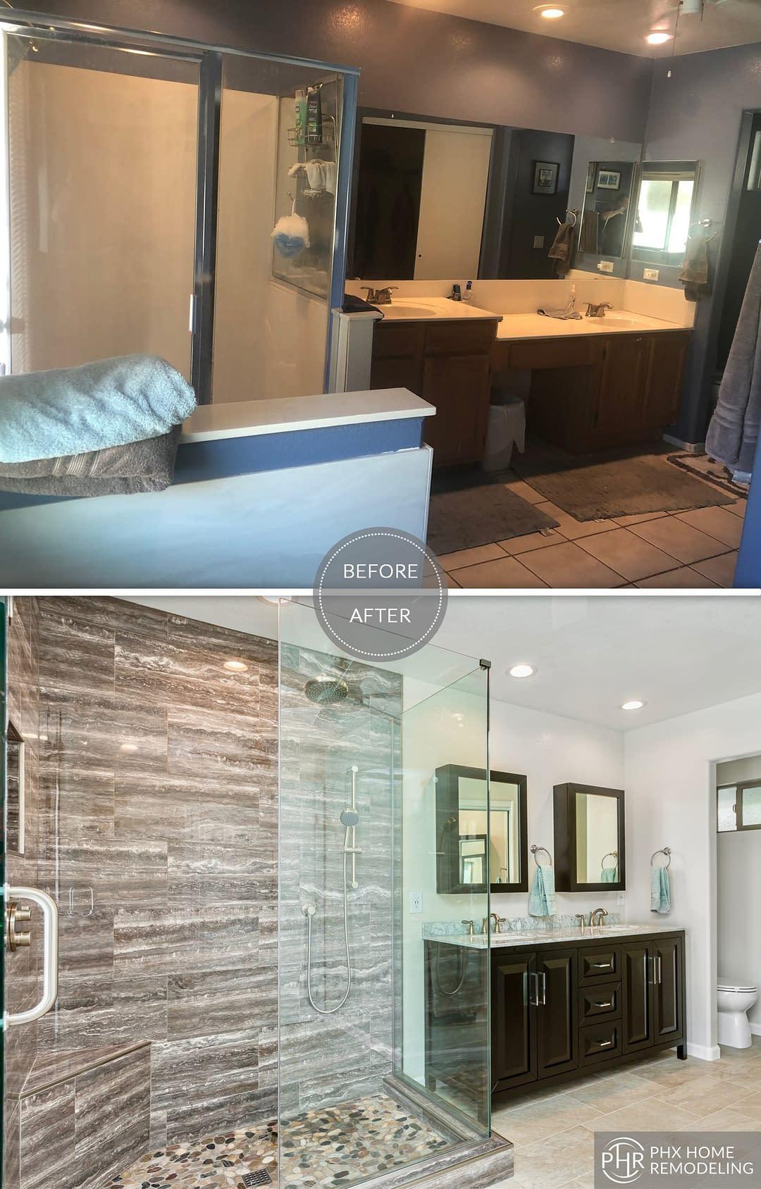 shower vanity remodel in chandler