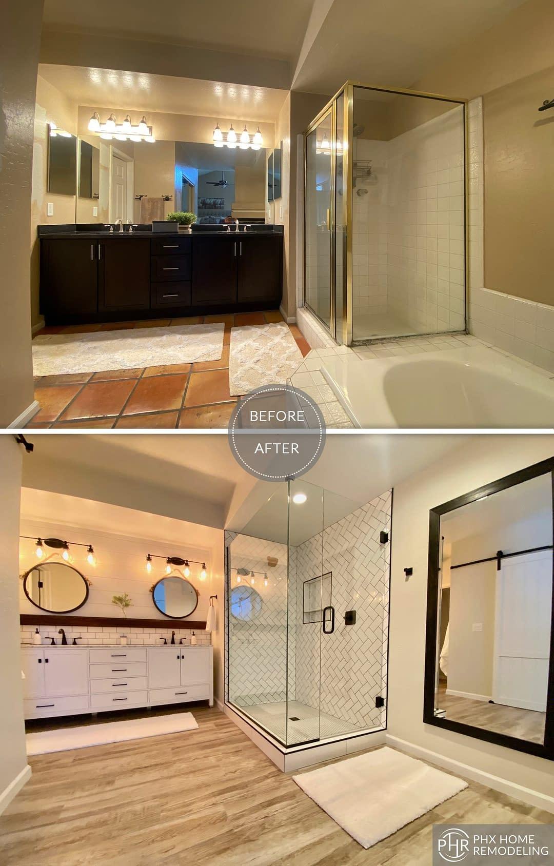 vanity shower bathroom remodel in phoenix