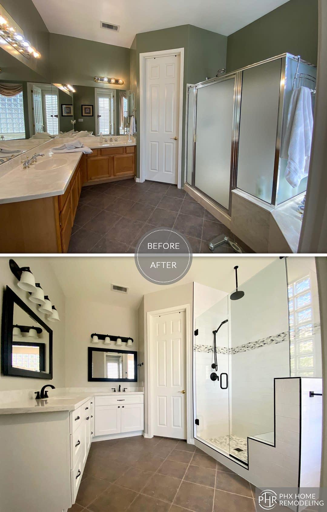 white master bathroom remodel in phoenix