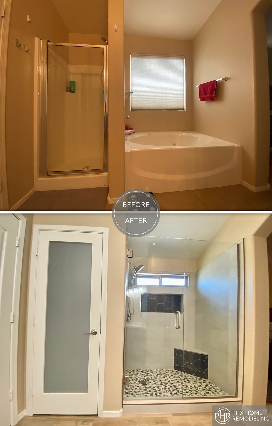 white shower and bathtub remodel in chandler