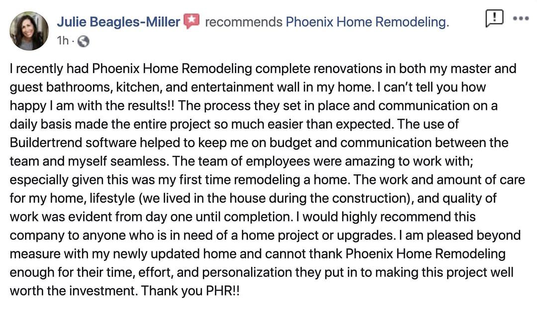 Julie Review of fireplace, kitchen, master bathroom adn guest bathroom remodels