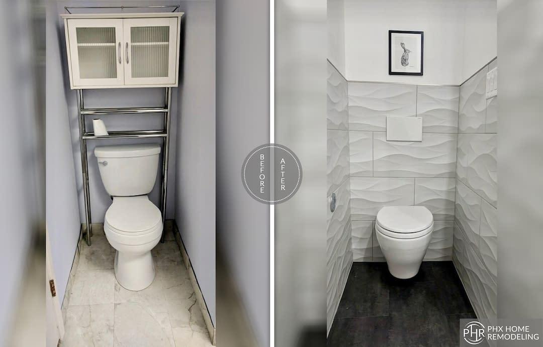 toilet bathroom renovation with tile