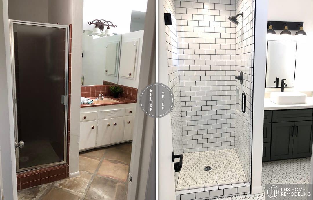 white bathroom remodel in tempe