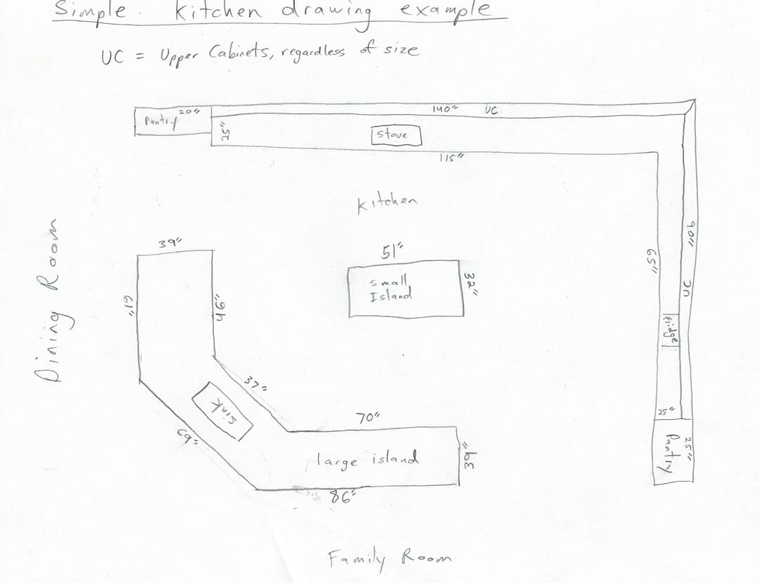 Simple kitchen remodel drawing example