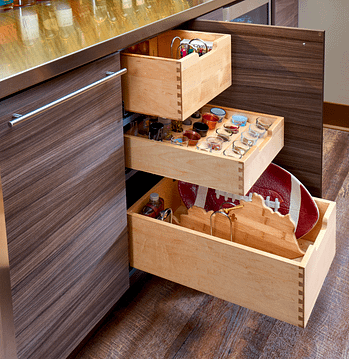 kitchen storage with 3 shelves