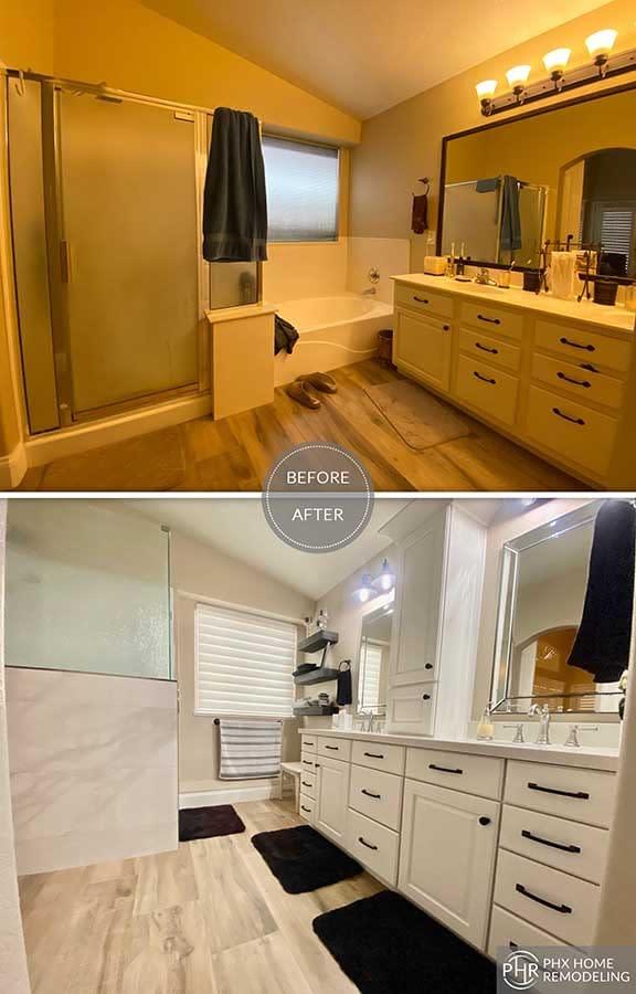 shower and vanity remodel in chandler