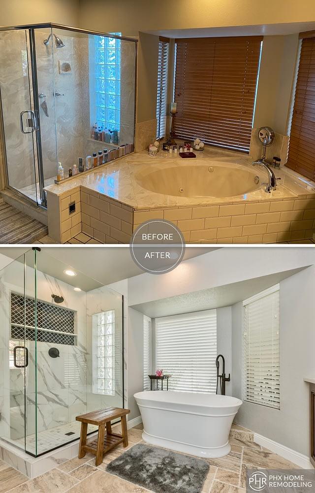 bathtub area matster bathroom remodel in tempe