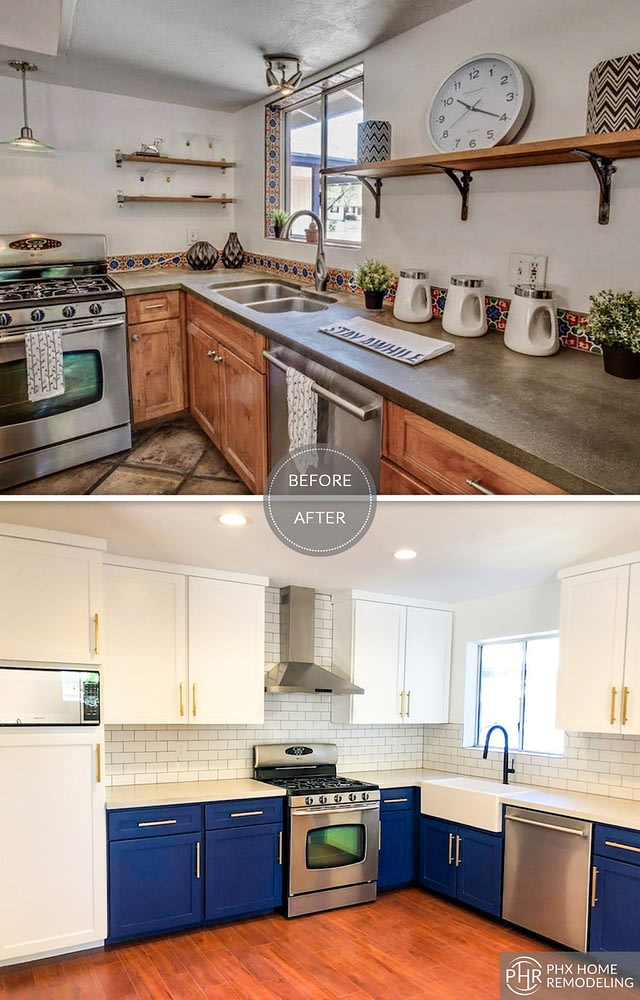 blue kitchen remodel in tempe