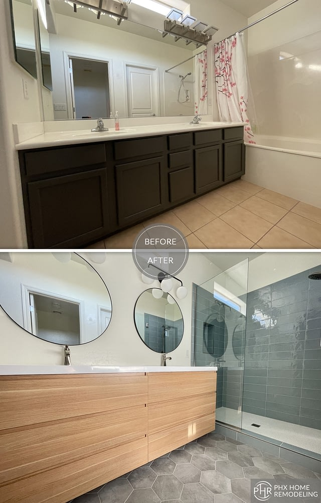 chandler shower and vanity renovation with floor tiles arizona