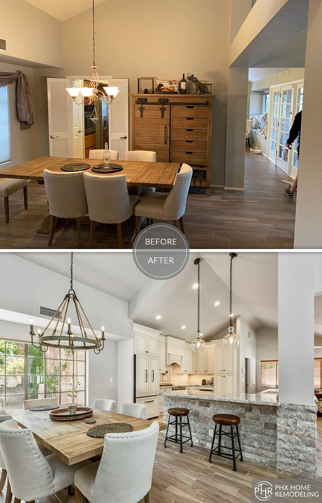 dining area kitchen remodel in tempe