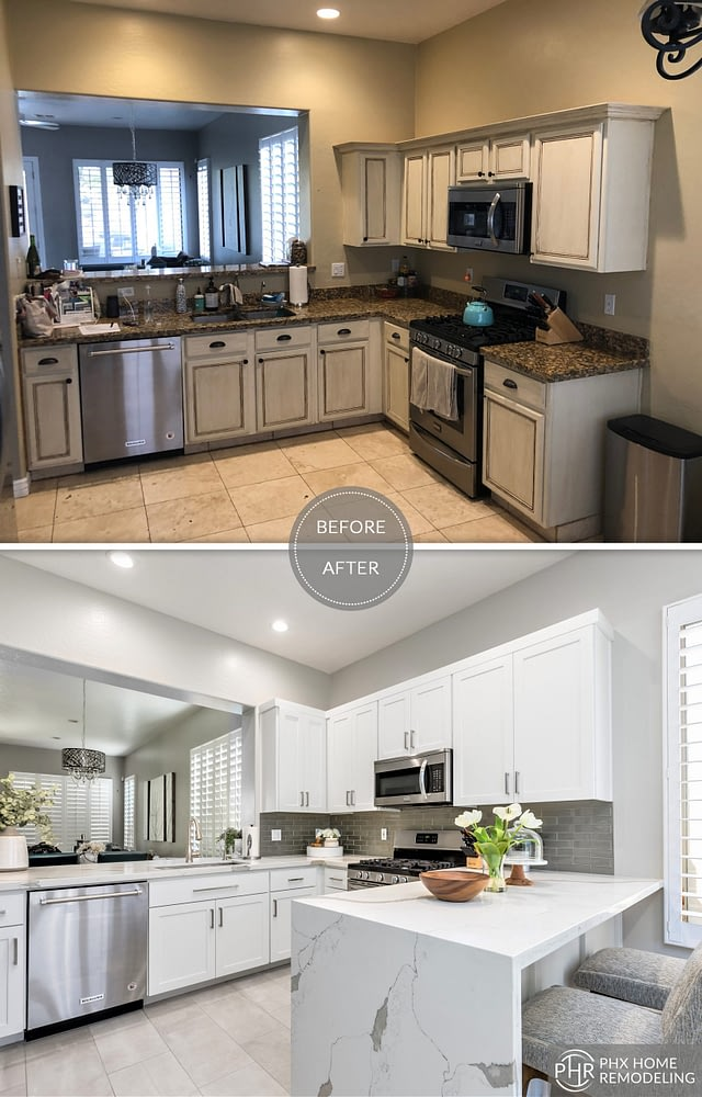 kitchen waterfall countertop remodel in chandler