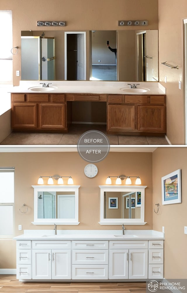 master bathroom vanity remodel with 2 mirrors