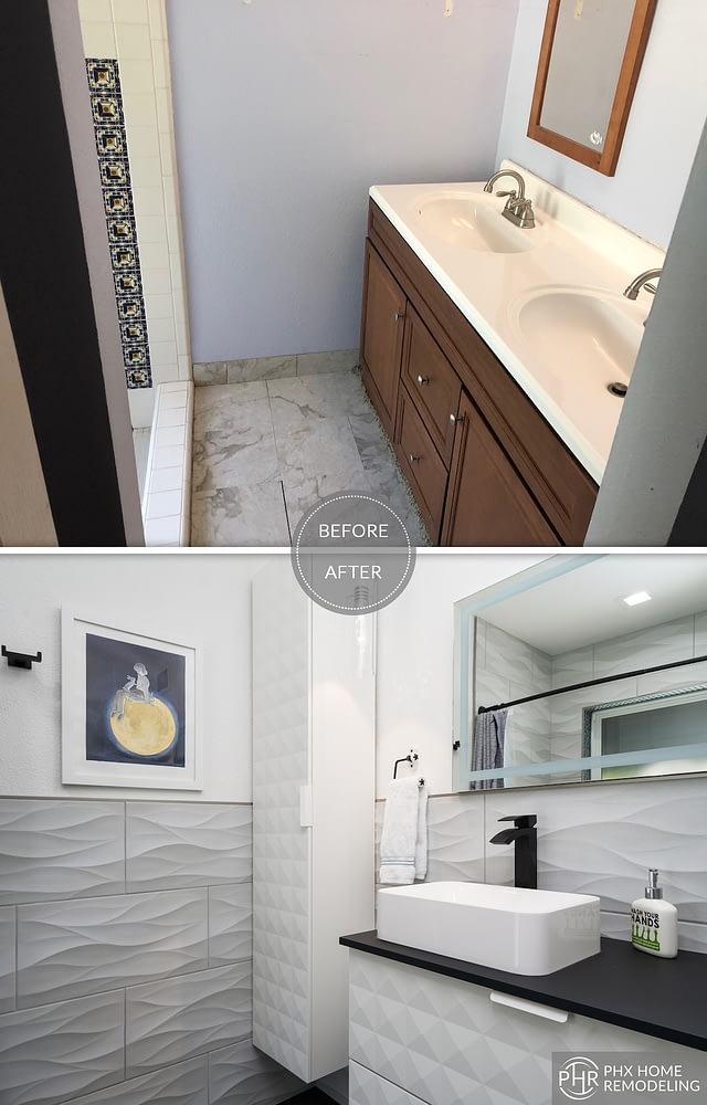 master bathroom vanity remodel with tiles