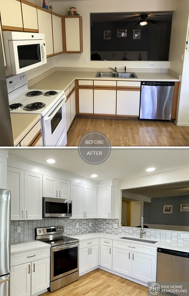 simple neat kitchen in chandler az with gray backsplash and white countertop