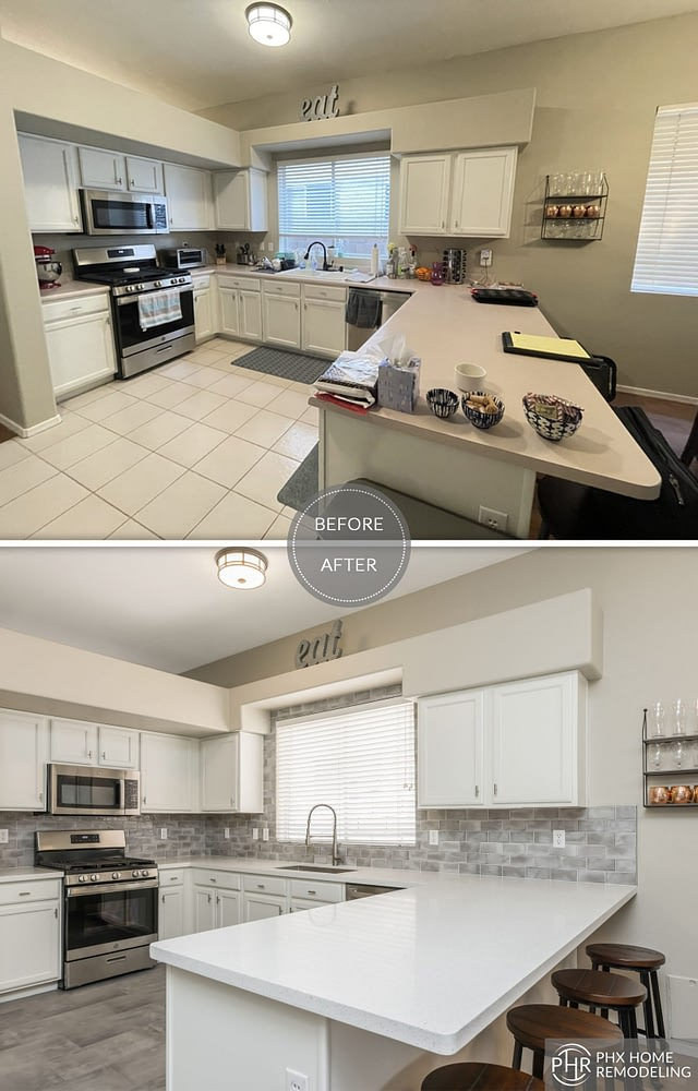 White kitchen with countertop and flooring renovation chandler az