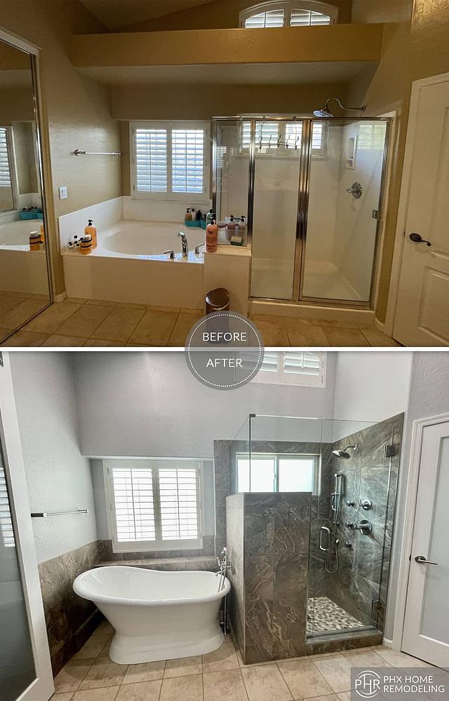 az shower and freestanding bathtub renovation chandler