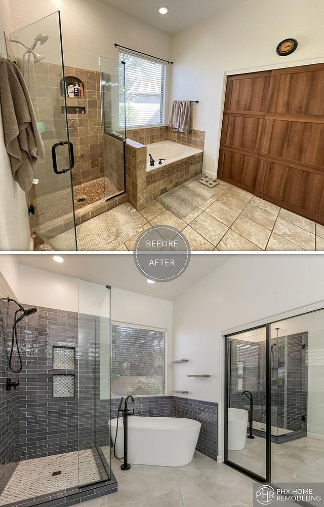 beautiful master bathroom shower and bathtub remodel chandler az