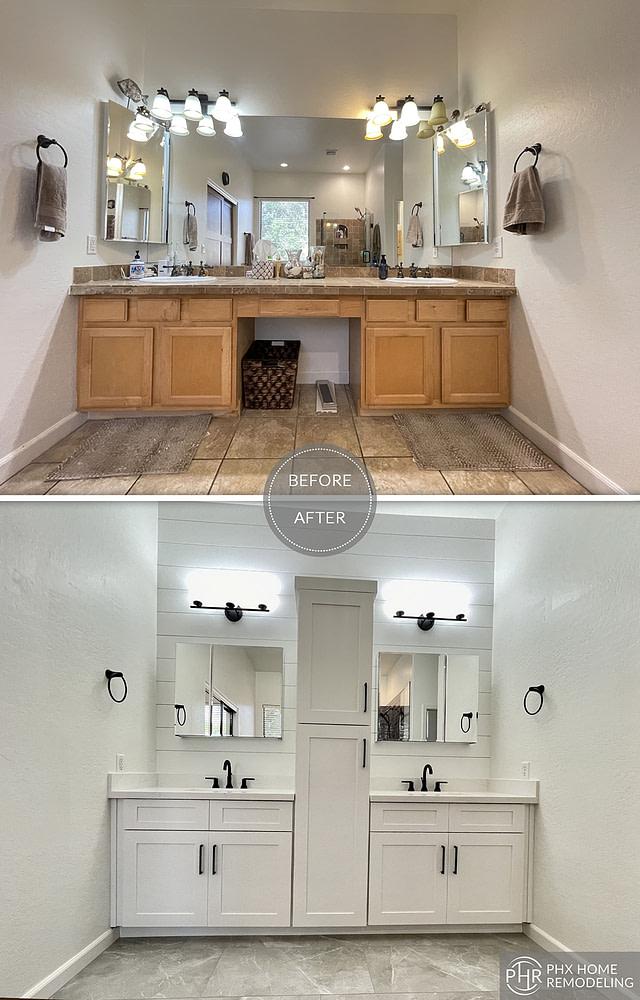 chandler master bathroom vanity remodel with 2 mirrors arizona