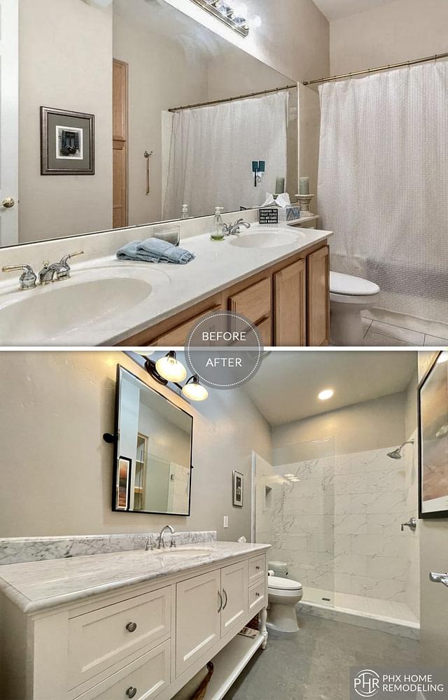 guest bathroom white remodel in phoenix arizona