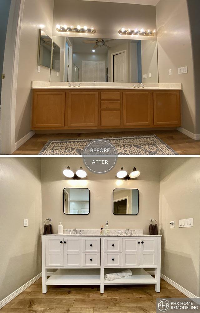 master bathroom renivation with white cabinets phoenix arizona
