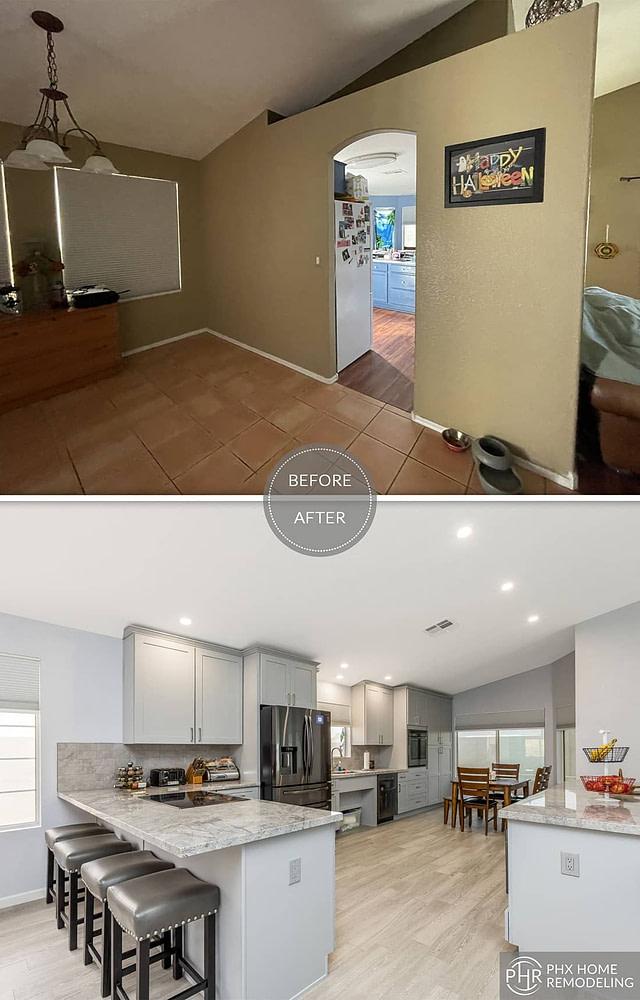 modern white kitchen with flooring renovation in phoenix az