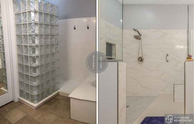 phoenix white shower wall remodeling az