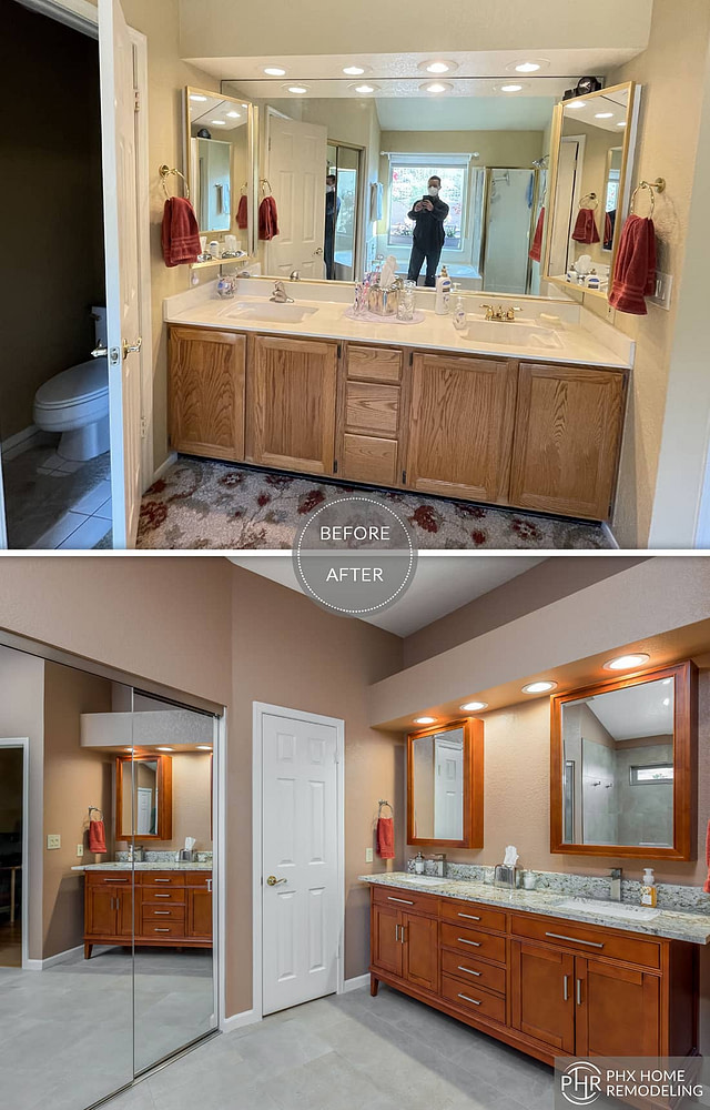 simple vanity cabinet and countertop remodeling in phoenix az