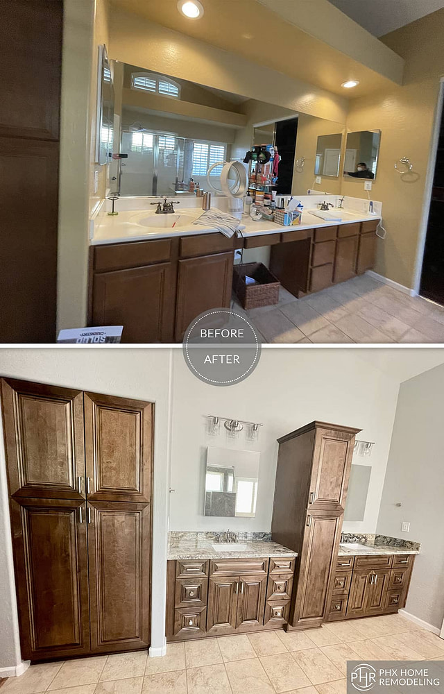 vanity area cabinet with center pantry remodeling chandler az