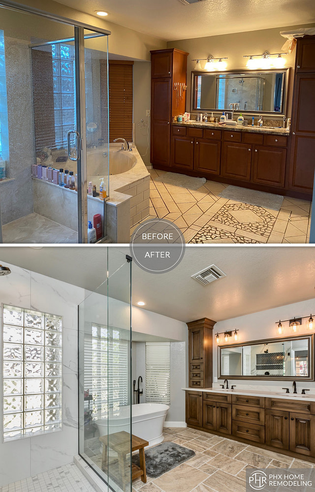 white master bathroom remodel in tempe